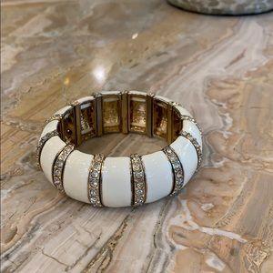 Cache ivory, gold and rhinestone stretch bracelet
